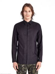 "DIESEL BLACK GOLD Black Long Sleeved STAPLEAT Textured Shirt 15"" Small BNWT"